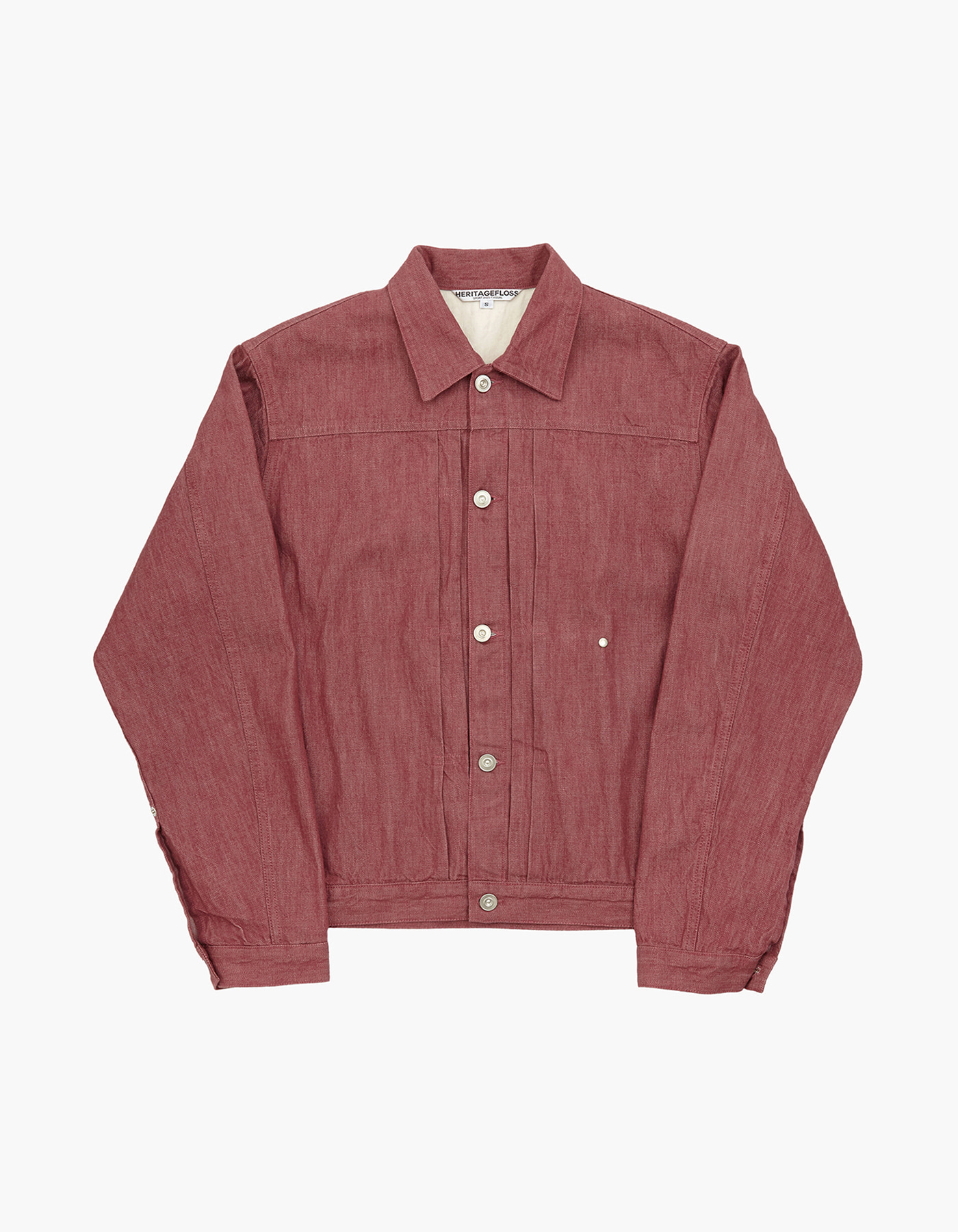 YARN DYED DENIM TRUCKER JACKET / RED