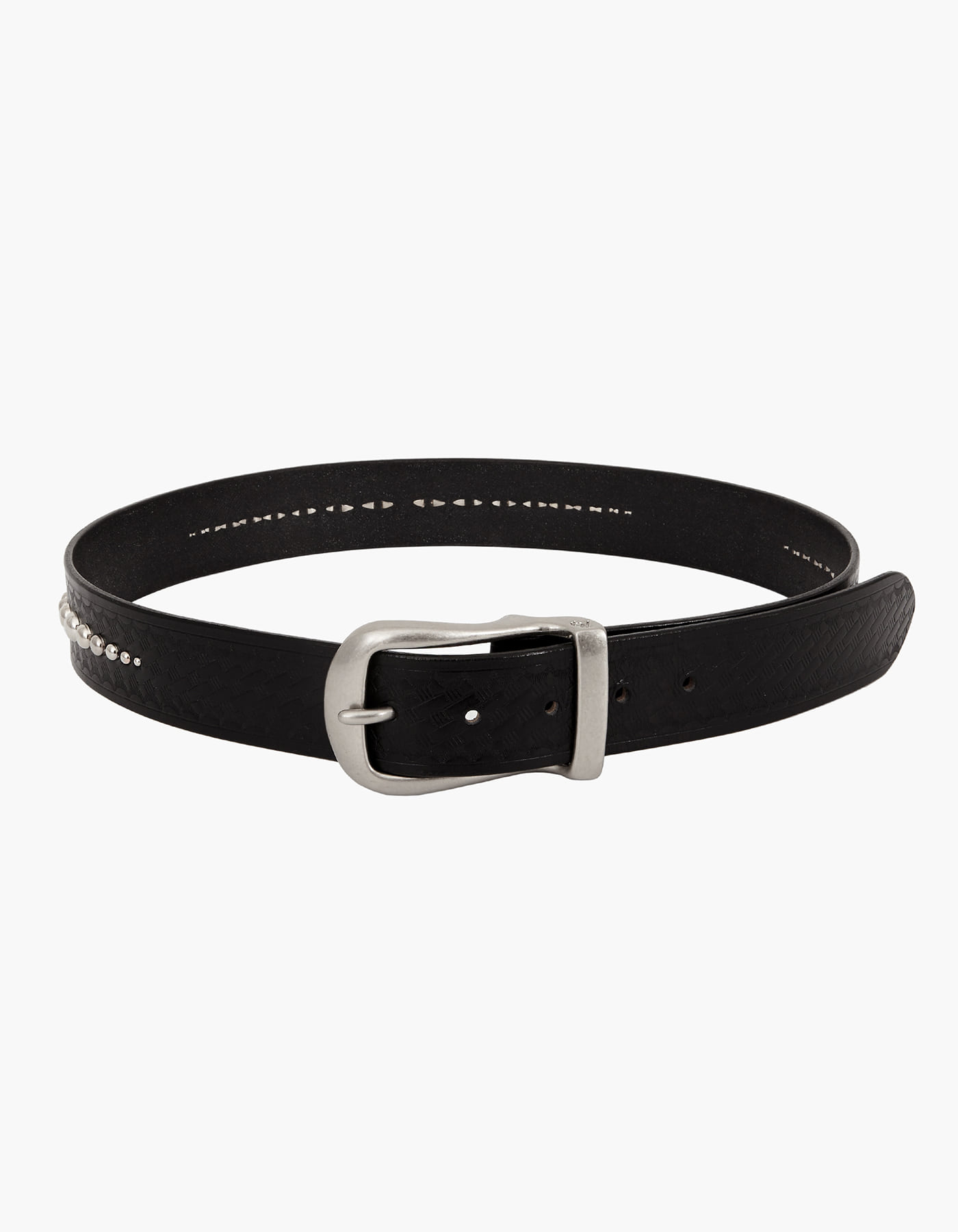 ROUND STUD BRIDLE LEATHER BELT / BLACK