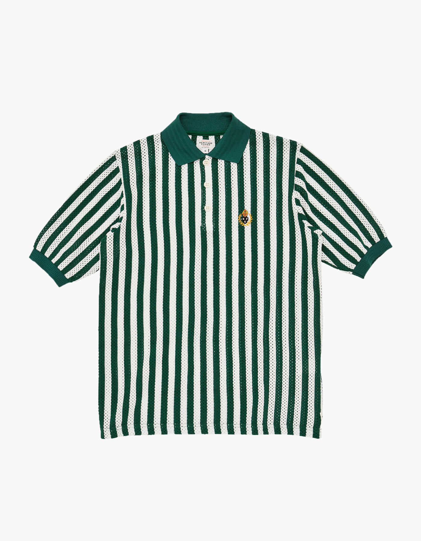 ENGLISH STRIPED MESH PIQUE SHIRT / WHITE-GREEN