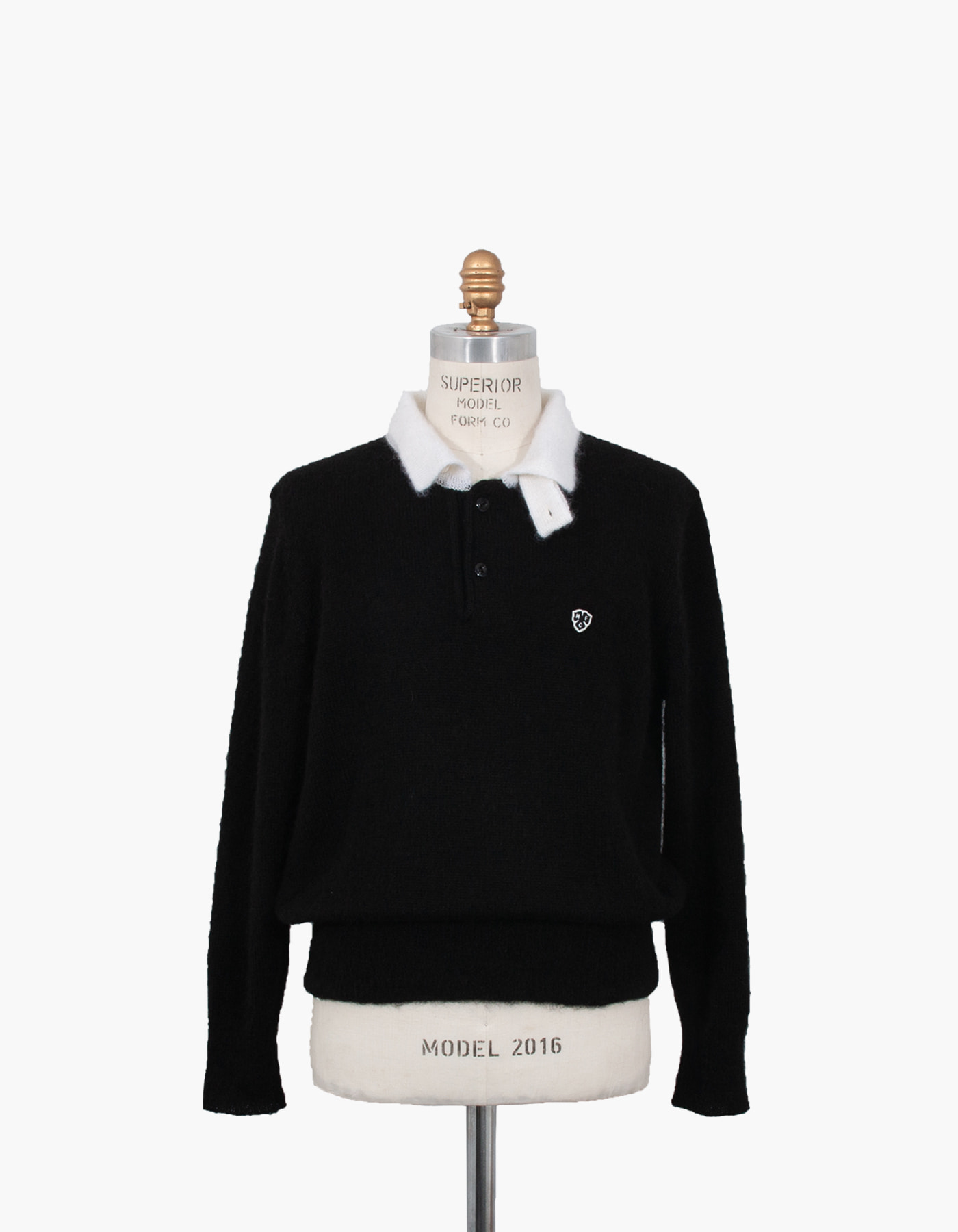 MOHAIR LONG SLEEVE POLO / BLACK-WHITE