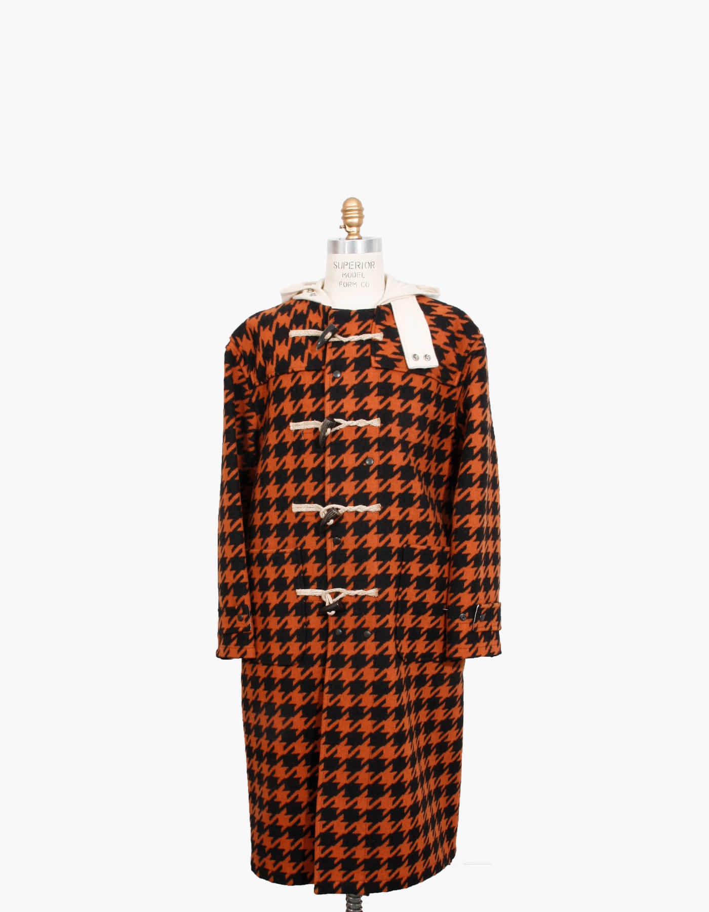 HOUNDSTOOTH WOOL DUFFLE COAT / GINGER